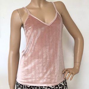 Blush Pink Velvet Camisole Cami Tank Top S NEW